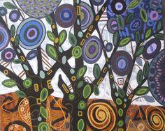 Trees Original Acrylic Painting Landscape Trees Canada -Modern paintings art