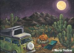 """""""Traveling VW Bus I"""" Matted and Signed Print $20 © Maria Vallese"""