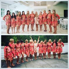 Coral Large Floral Blossom Bridesmaids Robe Sets | Kimono Robes. Bridesmaids gifts. Getting ready robes. Bridal Party Robes. Dressing Gowns by aaberi on Etsy https://www.etsy.com/listing/474845633/coral-large-floral-blossom-bridesmaids