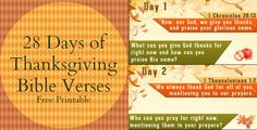 28 Days of Thanksgiving Bible Verses FREE Printable