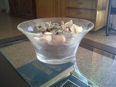 Ensaladera de cristal con deco de mar....arenas, piedras marinas, conchillas y caracolas
