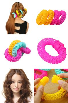 [Visit to Buy] 8pcs/Pack Hot The explosion of the donut curlers not hurt hair curling hair self-adhesive plastic small tool Hair Rollers #Advertisement