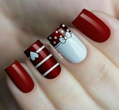 99 Stunning Diy Heart Nail Art Ideas For Valentines Day - - Heart nails - Nagellack Design, Nagellack Trends, Heart Nail Art, Heart Nails, Red Nail Art, Red Nails, Maroon Nails, Christmas Nail Art Designs, Christmas Nails
