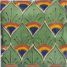 Green Peacock Feathers Talavera Mexican Tile by Tierra Y Fuego.