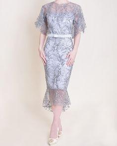 Fernanda dress in silver grey Dress Brokat Modern, Kebaya Modern Dress, Kebaya Dress, Dress Pesta, Dress Brukat, Chic Dress, Lace Dress, Elegant Wedding Dress, Elegant Dresses