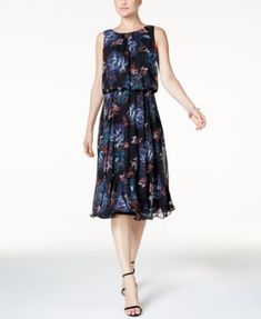 26f7f1ec Nine West Printed Blouson Dress & Reviews - Dresses - Women - Macy's