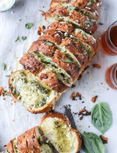 cheesy stuffed pesto garlic bread I howsweeteats.com #bread #cheesestuffed #pesto #garlicbread