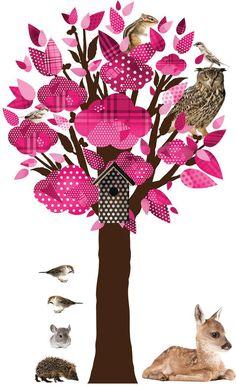 Muursticker - Forest Friends Tree - Roze - Kek Amsterdam