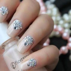 Little Beauty Bag used a beige nude nail polish with crystal accents to create gorgeous rhinestone wedding nails. Wedding Nails For Bride, Wedding Nails Design, Bride Nails, Prom Nails, Nail Design, Wedding Manicure, Homecoming Nails, Rhinestone Wedding, Rhinestone Nails