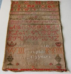 ANTIQUE 1842 SAMPLER BY MABLE MOOR OF THROPHILL NORTHUMBERLAND AGED TEN