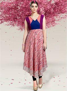 Buy Khoobee Multi Colored V Neck Printed Kurti at Best Prices @ Looksgud.in  #Khoobe #Kurti #MultiColor