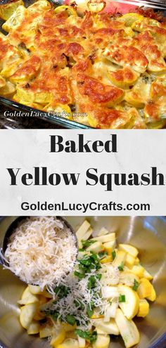 Cheesy Yellow Squash Recipe, baked squash, baked yellow squash - delicious combination of plain squashes, basil and cheese! Vegan Yellow Squash Recipes, Baked Summer Squash, Squash Zucchini Recipes, Summer Squash Recipes, Vegetable Recipes, Vegetarian Recipes, Cooking Recipes, Easy Squash Recipes, Gourmet