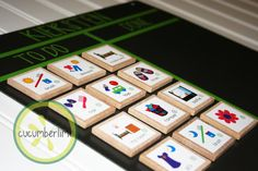 Daily Board Black by cucumberlime on Etsy, One Black Board, Daily Boy or Daily Girl Set (12 tiles) $25.00