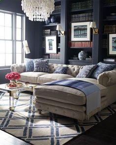 Warner Linen Sectional Sofa - Horchow