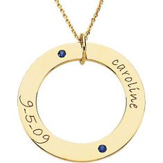Smallest circle Wee: shown in yellow gold and name and date with birthstone.