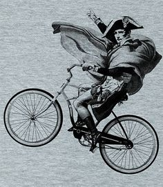 Napoleon rides a bike.