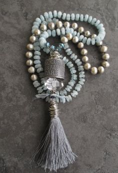 Knotted aquamarine pearl long necklace Saltwater's by slashKnots