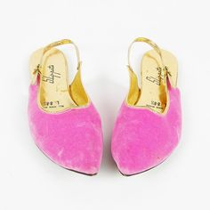 vtg 70s ethnic PINK GOLD VELVET POINTY TOE sling back SLIP ON slipper shoe L 8.5 $18.00