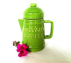 Vintage Mid Century Knobler Lime Green Instant Coffee Container on Etsy, $12.00