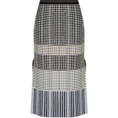 Proenza Schouler Geometric-knit wool skirt (25 235 UAH) via Polyvore featuring skirts, proenza schouler, slit skirt, proenza schouler skirt, geometric skirt и geometric print skirt