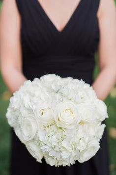 Classic White Rose, Hydrangea Bridesmaid Bouquet
