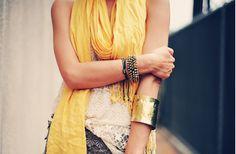 yellow scarf, golden bracelet