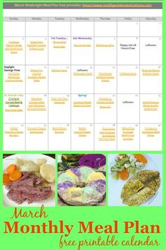 March Monthly Meal Plan free printable calendar. This month of weeknight meal ideas includes links to recipes. Print or Download the calendar. Weeknight meals including recipes for soup, casseroles, made from scratch meals and desserts. #mealplan #freeprintable One Dish Dinners, One Pot Meals, Meals For One, Monthly Meal Planning, Menu Planning, Fun Easy Recipes, Easy Meals, Pork Recipes, Crockpot Recipes