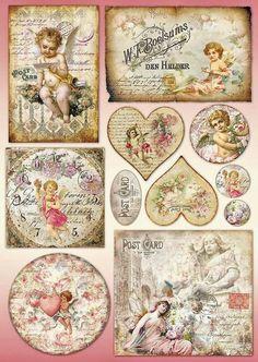 """Papier do decoupage Stamperia - Papier klasyczny DFG by marquita"", ""Vintage valentine hearts and postcar Decoupage Vintage, Decoupage Box, Vintage Crafts, Vintage Paper, Vintage Tags, Vintage Labels, Vintage Ephemera, Vintage Postcards, Vintage Clip Art"