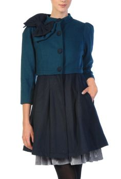 Preppy Patronage Bow Applique Coat Dress in Dark Teal/Navy by Ryu Collection  $89.99