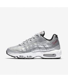 Nike Air Max 95 Premium QS Metallic Silver Black White Varsity Red Mens 694fd4d86