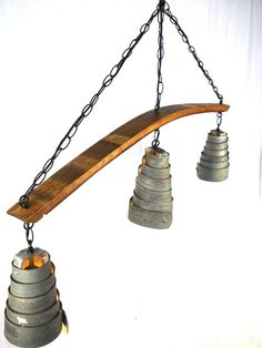 Wine Barrel Ring Hanging Pendant Light Chandelier  - 100% RECYCLED from Napa Wine Barrels. $200.00, via Etsy.