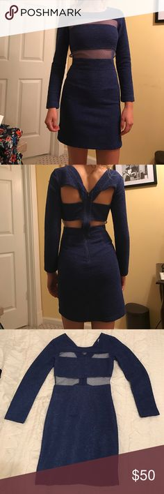c5fe79e9fb7d39 BCBG Royal Blue Dress Mesh in the front and cut out in the back.