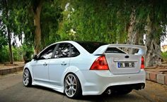 White #Ford #Focus ST Sedan mk2 with gold wheels