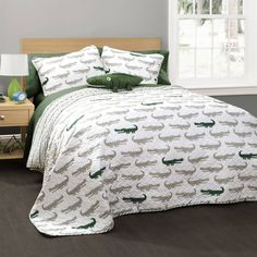 Full/Queen 4-piece Quilt Set Boy Alligator Reversible Bedding, Alligator Pillow  #BoysBedding
