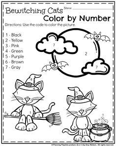 Un jeu de coloriage d'Halloween pour les plus petits. Par un site d'activités pour enfants qui a une très belle page pinterest (en anglais.