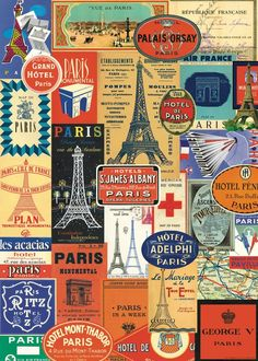 This Paris France Travel Stickers Vintage Style Poster is wonderful ephemera for crafts, decoupage, gift wrap, framing, and more. Made of high quality Italian paper stock. By Cavallini. Paris Flat, Paris 3, Hotel Paris, I Love Paris, Paris Hotels, Tour Eiffel, Paris France, Plan Paris, Enjoy The Ride