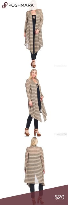 🚨JUST IN 🚨🎄🍁🍂 Beige Stripe Cardigan  🌹 🍂🍁Fall Edition 🍂🍁 🔥HOT 💃🏼 SEXY 🌦☁️ COMFY AND WARM  Hacci Material  Ships 1-2 business day, I AM A FAST SHIPPER 🛫 YES, these are the real pictures of the item 💁🏻 Sizes available in PLUS BRAND NEW merchandise only  MADE IN USA! 🇺🇸 Add it to bundle to save more 🤑 Sweaters Cardigans