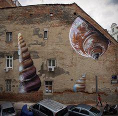 "Lonac paints ""Xenophora"" a new photo realistic mural in Zagreb, Croatia - StreetArtNews"