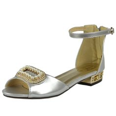 Kids Dress Sandals Gold Tone Pearl Accent Low Heel Pageant Shoes Silver Girls Dress Sandals, Pageant Shoes, Silver Shoes, Little Princess, Low Heels, Little Girls, Pearl, Kids, Gold