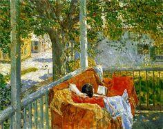 Couch on the Porch, Cos Cob, 1914 El Blog de La Tabla: Childe Hassam: mujeres, jardín y flores