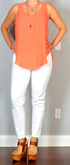 Outfit Posts: outfit post: orange layered tank, white cropped jeans, brown wedges