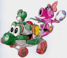 Yoshi and Birdo Kart by chibi22