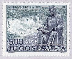 Tesla.  Yugoslavia 1978, Niagara Falls . Nikola Tesla monumento en la isla de la cabra, Niagara. Nikola Tesla diseñó la primera planta de energía hidroeléctrica en las cataratas del Niágara. El monumento fue un regalo de Yugoslavia a los Estados Unidos. Fue obra del escultor croata Frane Krsinic.