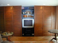 Closet doors can add the perfect touch to any room in the house! These are 4 1/2' Fixed Louver #Closet Doors. frenchshutters.com