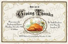 Giving Thanks Thanksgiving Dinner Invitation by WAGlacierGraphics