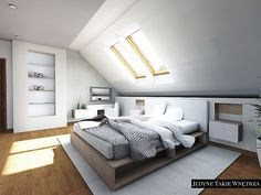 Colour Ideas For Attic Bedrooms - Dining Room - Woman - Fashion - Decoration - Furniture Attic Bedroom Small, Attic Bedroom Designs, Attic Bedrooms, Attic Bathroom, Loft Room, Bedroom Loft, Bedroom Decor, Modern White Bathroom, Modern Bedroom