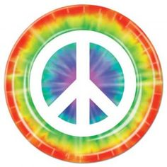 """Peace Sign 9"""" Plates - For 60's Party"""