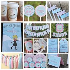 Girl Winter / Ice Skating Birthday Party Decorations.  13 piece party decor box.  Pink, blue, white.  Any Age. by CharmingTouchParties on Etsy