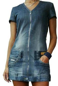 Remake work jeans pant became short dress # - Amy Starcourt Refashion Dress, Jeans Refashion, Refaçonner Jean, Diy Clothes Jeans, Denim Fashion, Fashion Outfits, Mode Jeans, Jeans Denim, How To Make Clothes