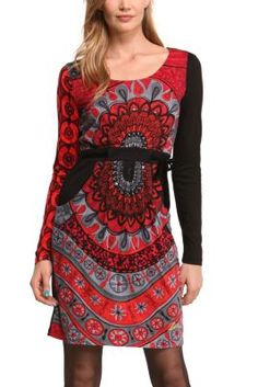 Desigual women's Canar dress. We've used the popular combination of black and red in this long sleeved dress with a Desigual print that you'll love. It's from the new Why